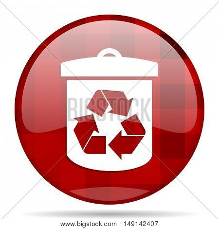recycle red round glossy modern design web icon