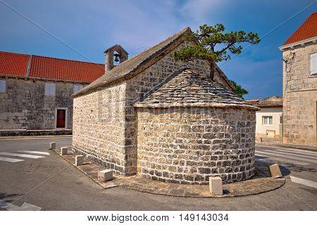 Stone chapel in Nerezisca village Island of Brac Dalmatia Croatia