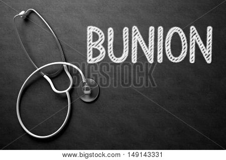 Medical Concept: Black Chalkboard with Bunion. Medical Concept: Bunion - Medical Concept on Black Chalkboard. 3D Rendering.