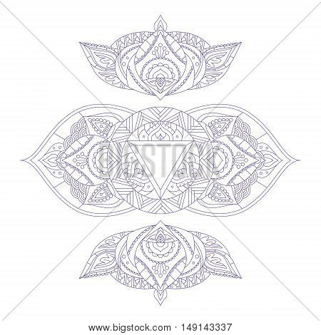 Chakra Ajna for Henna Tattoo and for Your Design. Vector illustration