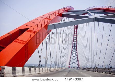 Bugrinsky Road bridge in Novosibirsk Russia. City landmark