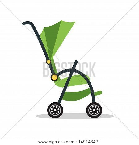 Green Baby Carriage. Flat Design Style. Child Transport. Vector illustration