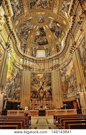 ROMA ITALY APRIL 11 2016 : Interiors and architectural details of Sant Andrea della Valle basilica with fresco by Giovanni Lanfranco (1621- 1625) and four Evangelists by Carracci school (17. cent.) april 11 2016 in Rome Italy.