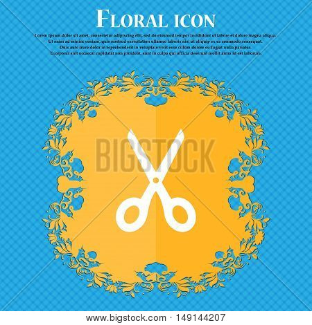 Scissors Icon Sign. Floral Flat Design On A Blue Abstract Background With Place For Your Text. Vecto
