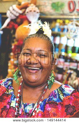 Brazilian woman at Belem do Para market in Brazil
