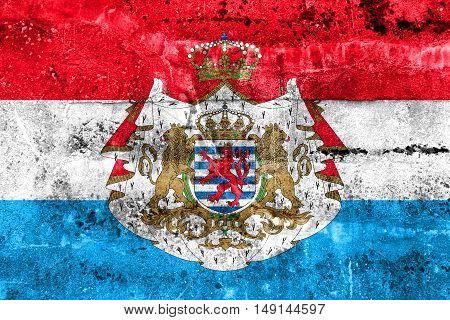 Flag Of Luxembourg With Coat Of Arms, Painted On Dirty Wall