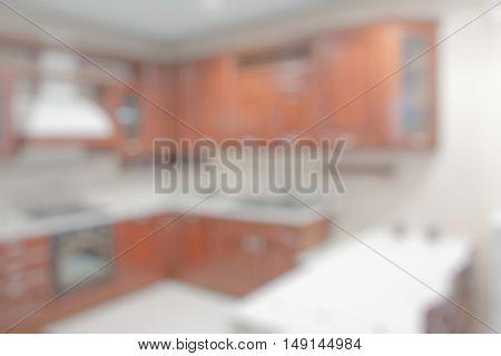 blurred background, defocused kitchen