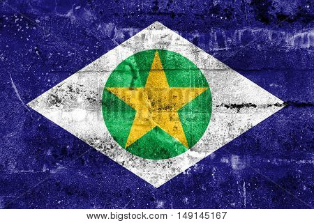 Flag Of Mato Grosso State, Brazil, Painted On Dirty Wall