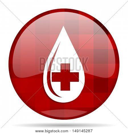 blood red round glossy modern design web icon