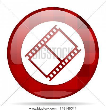 film red round glossy modern design web icon