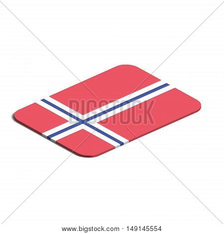 Flag of Norway. Background white. Flag of Norway isolated. 3d vector eps.