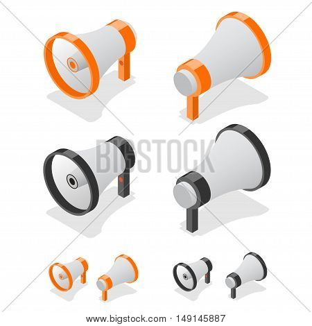 Megaphone Set Loudspeaker Symbol. Isometric View. Vector illustration