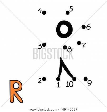 Numbers game for children, education dot to dot game, Letter  R