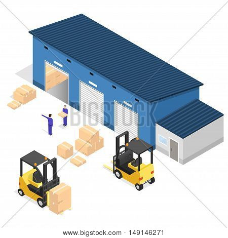 Exterior Warehouse Building Business Delivery. Isometric View. Vector illustration