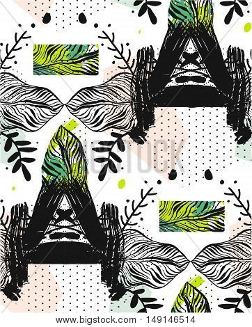 Hand drawn vector abstract exotic tribal textured graphic seamless pattern with reflect compisition with palm leavesbrush strokes and polka dot isolated on white background.