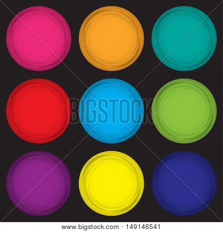 Set of colored magnets in a flat design on a black background. Vector illustration eps10