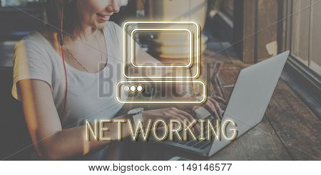 Working Outside Lady Networking Concept