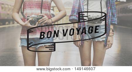 Bon Voyage Backpacking Travel Destination Journey Concept