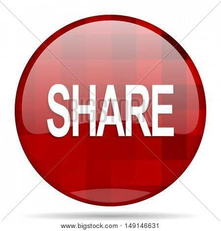 share red round glossy modern design web icon