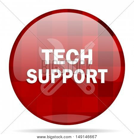 technical support red round glossy modern design web icon