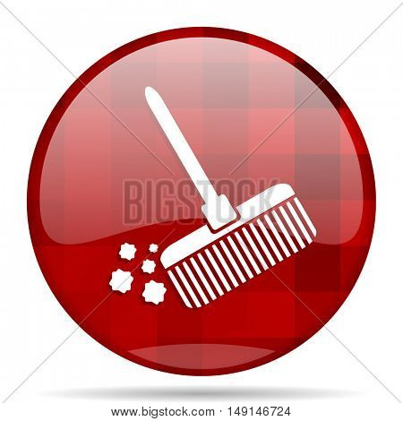 broom red round glossy modern design web icon