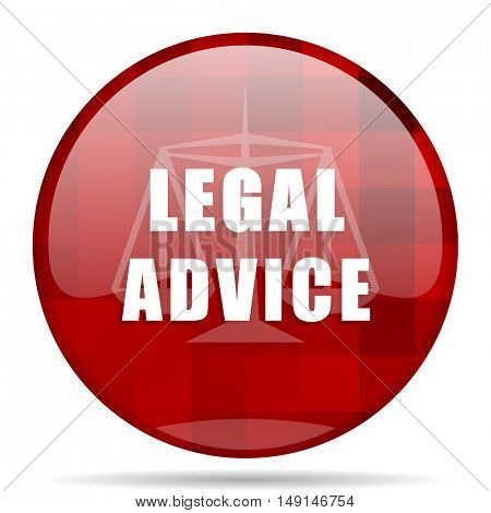legal advice red round glossy modern design web icon