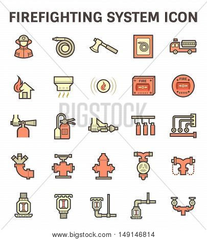 Firefighting system and fire sprinkler icon set.
