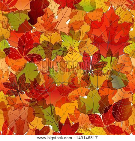 Different color autumn leaves vector seamless pattern