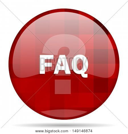faq red round glossy modern design web icon