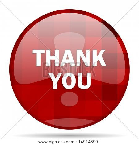 thank you red round glossy modern design web icon