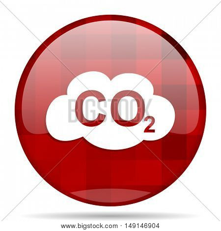 carbon dioxide red round glossy modern design web icon