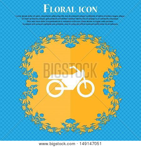 Motorbike Icon Sign. Floral Flat Design On A Blue Abstract Background With Place For Your Text. Vect