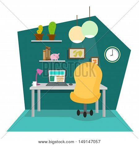 Work Place at Office or Home. Flat Design Style. Vector illustration