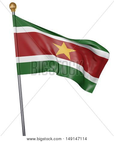 National flag for country of Suriname isolated on white background, 3D rendering