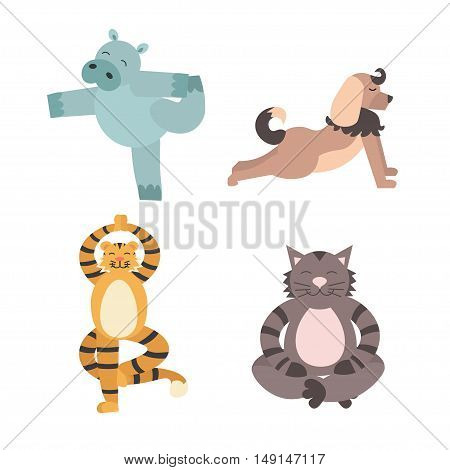 Fun Animals of Yoga Pose. Flat Design Style. Vector illustration