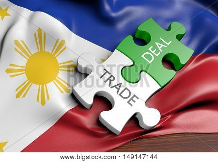 Philippines trade deals and international commerce concept, 3D rendering