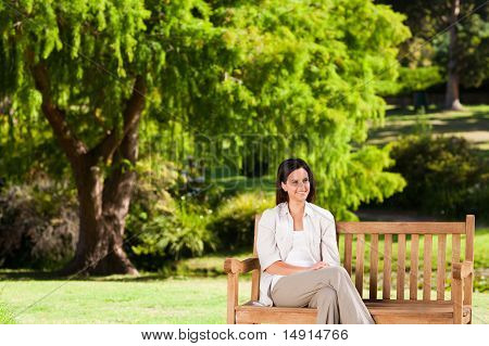 Brunette Woman On The Bench