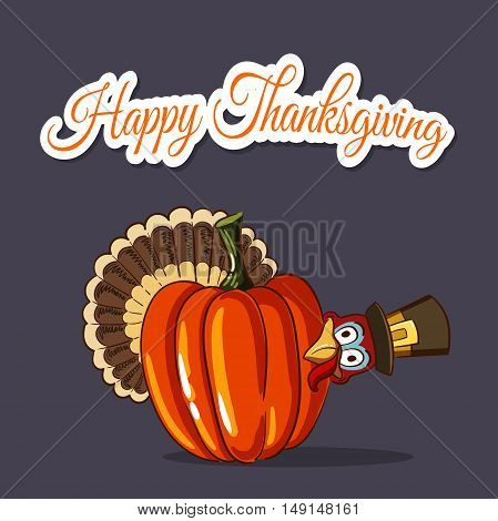 Thanksgiving illustration of cartoon turkey and big pumpkin isolated on dark background.