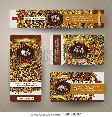 Corporate Identity vector templates set design with doodles hand drawn Africa theme. Colorful banner, id cards, flayer design. Templates set