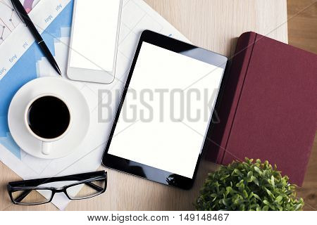 Workplace With Tablet And Cellphone