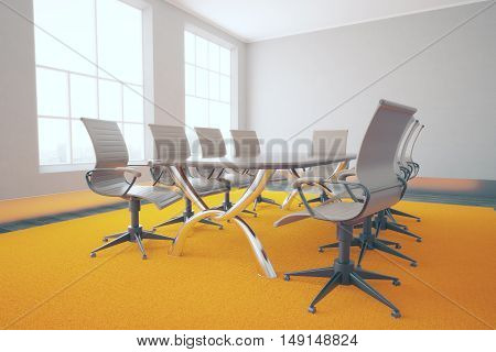 Conference table and chairs in concrete interior with bright orange carpet. 3D Rendering