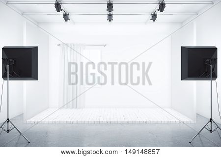 Film studio with room box and professional lighting equipment. 3D Rendering