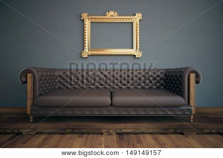 Front view of luxurious interior with empty ornate see-through picture frame brown leather sofa wooden floor and dark grey wall. Mock up 3D Rendering