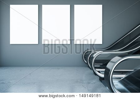 Interior with escalator and three blank posters on concrete wall. Mock up 3D Rendering