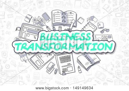 Doodle Illustration of Business Transformation, Surrounded by Stationery. Business Concept for Web Banners, Printed Materials.