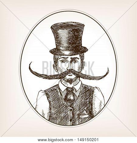Vintage gentleman with huge mustache sketch style vector illustration. Old engraving imitation.
