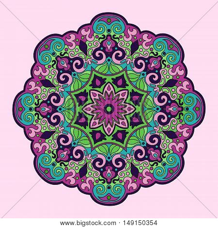 Colorful mandala hand drawn. Color lace pattern vector illustration