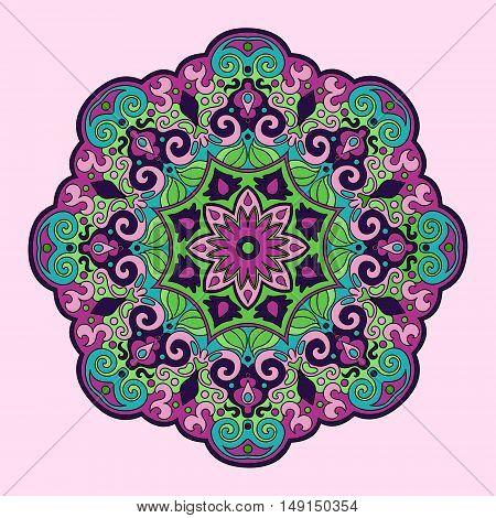 Colorful mandala hand drawn. Color lace pattern vector illustration