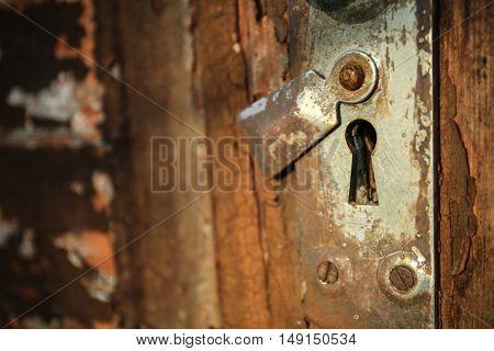 Lock hole on the old door