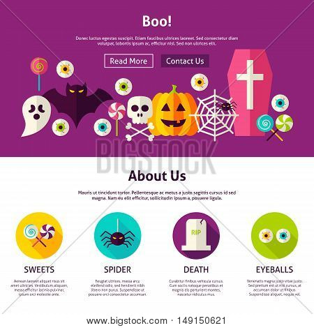 Boo Web Design Template. Flat Style Vector Illustration for Website Banner and Landing Page. Happy Halloween.